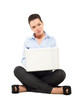 Attractive woman sitting with laptop