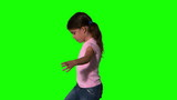 Cute little girl spinning around on green screen