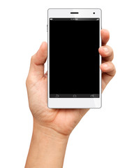 Hand holding A Big Screen Smartphone with blank screen