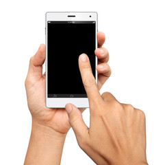 Hands are holding and point on A Big Screen Smart Phone on white