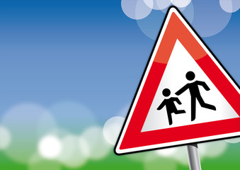 Schild  Achtung spielende Kinder, Schule, Kinder, Himmel