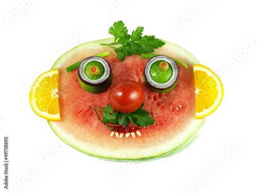 Funny fruity face, isolated