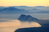 The Rock of Gibraltar and African Coast at sunset