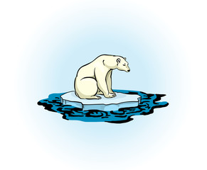 Polar bear and polluted sea