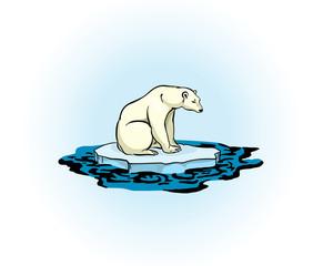 Polar bear and polluted sea