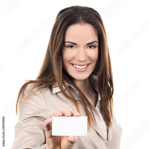 business woman holding a blank business card