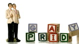 Gay groom cake toppers beside blocks  spelling gay pride