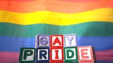Rainbow flag moving in the breeze with gay pride blocks