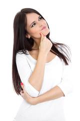 Skeptische schöne jung Frau mit langen Haaren