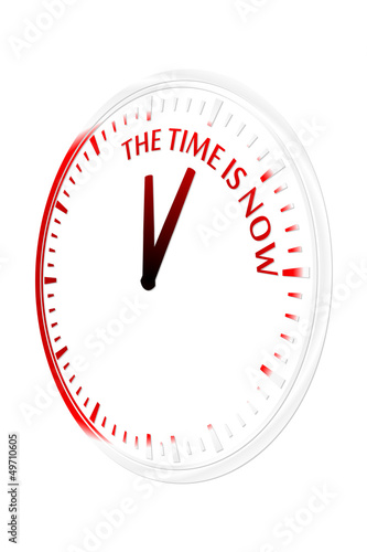 The time is now clock vector illustration