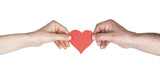 Woman and man hands holding red heart