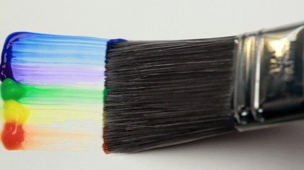 Paintbrush with a rainbow brush stroke