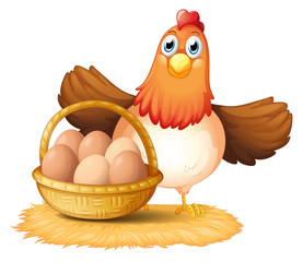 A hen and a basket of egg