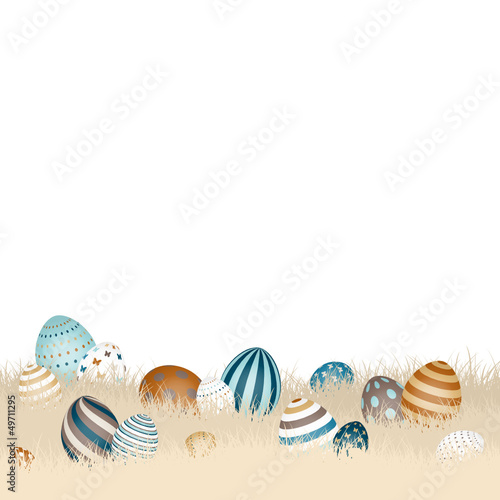 Easter Background Meadow Eggs Retro