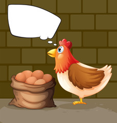 A chicken thinking