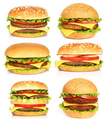 Big hamburgers on white background .