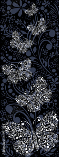 ornamental background with butterflies