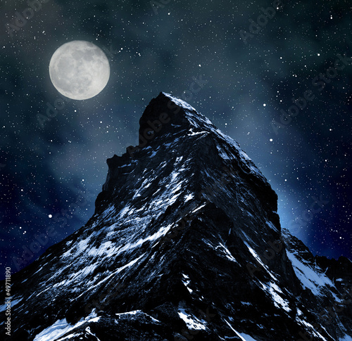 Matterhorn on night sky