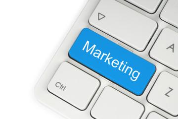 Blue marketing keyboard button on white background.