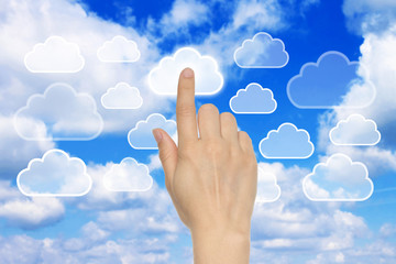 Cloud computing concept with woman hand .