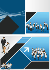 Blue and black template with business people
