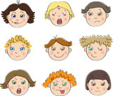 Nine children's faces with different moods