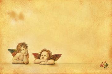Nostalgische Postkarten-Vorlage mit zwei Engeln
