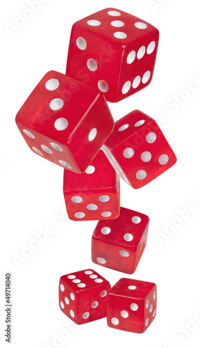 red shiny dices on white background