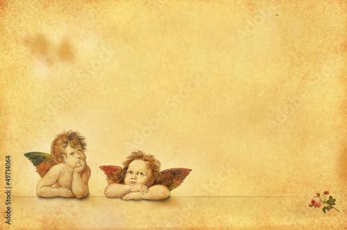 Nostalgische Postkarten-Vorlage mit zwei Engeln - 49714064