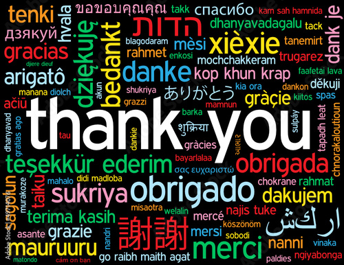THANK YOU Card (a lot thanks gratitude message words tag cloud)