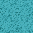 Vector seamless pattern with sport balls