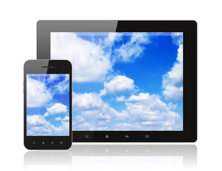 Tablet pc and smart phone with blue sky on white background