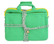 Laptop in mint bag closed with chains and padlock