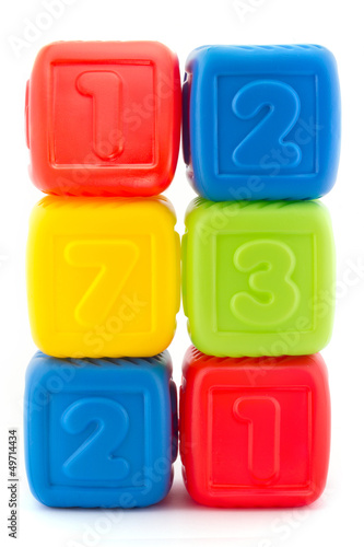 Tower of six colorful building blocks