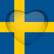 Sweden Flag Heart Glossy Button