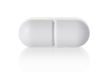 Medical pill tablet on white, clipping path included