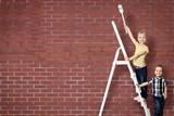 Fototapety Kids auf der Leiter - Textfreiraum