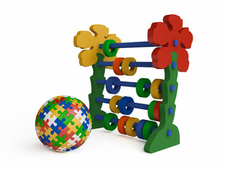 Toy Abacus and Jigsaw Puzzle Ball in 3d