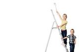 Kids auf der Leiter - weiß
