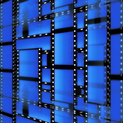 blue film strip background, texture