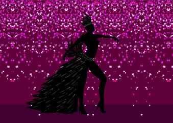 Danseuse Carnaval Rio avec fond rideau de confettis