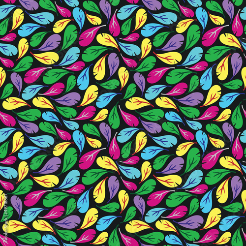 Seamless pattern with multicolor feathers on black background
