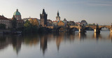 Charles bridge panorama in Prague at sunset, Czech republic