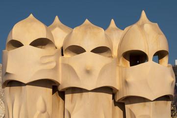BARCELONA, SPAIN  roof of La Pedrera or Casa Mila by Gaudi