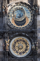 Historical, astronomical clock in the Old Town square in Prague,