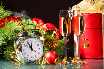 New Year's still life with glasses