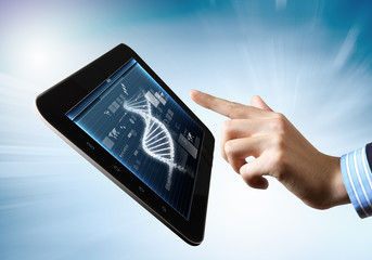 Dna strand On The Tablet Screen