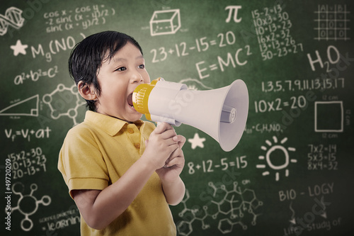 Boy student announce using speaker