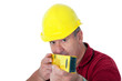 Friendly construction worker with a spirit level