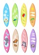 An Illustration Set of Surfboards with Different Designs